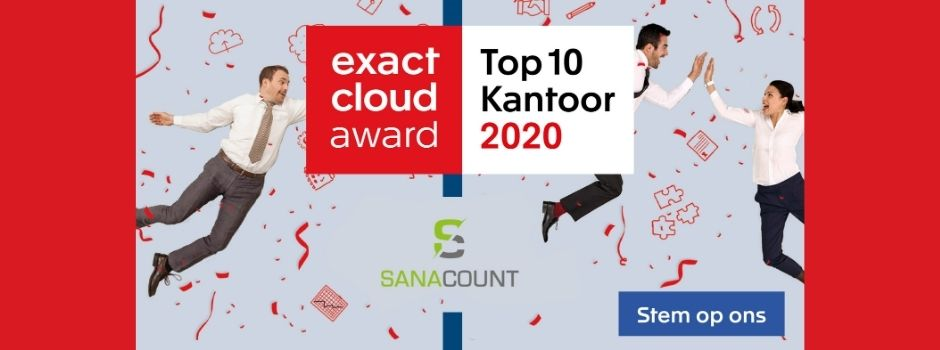 Sanacount is genomineerd voor de Exact Cloud Award 2020 - Nieuws - Blogs - Sanacount